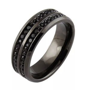 Other - Black Tone 2 Tier Black Crystals Ring